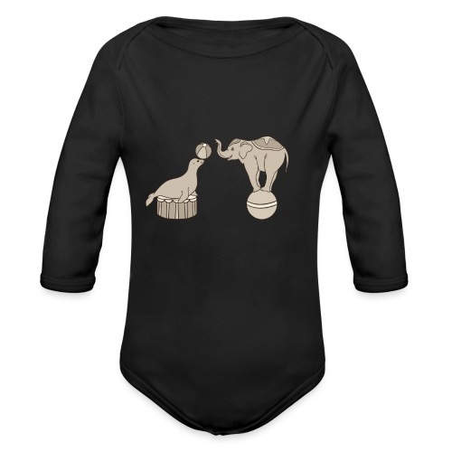 Circus elephant and seal - Organic Longsleeve Baby Bodysuit