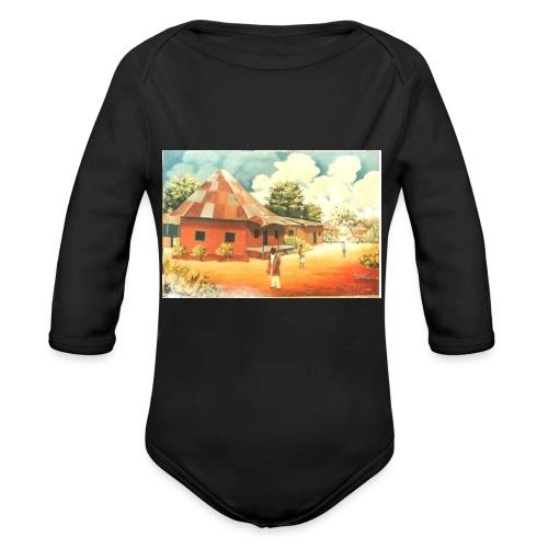 Rural African Village Scene Sofa pillow cover 44 x - Organic Longsleeve Baby Bodysuit