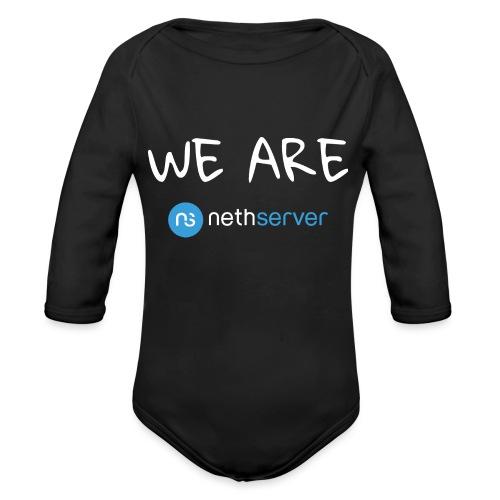 white-blue-rectangular - Organic Longsleeve Baby Bodysuit