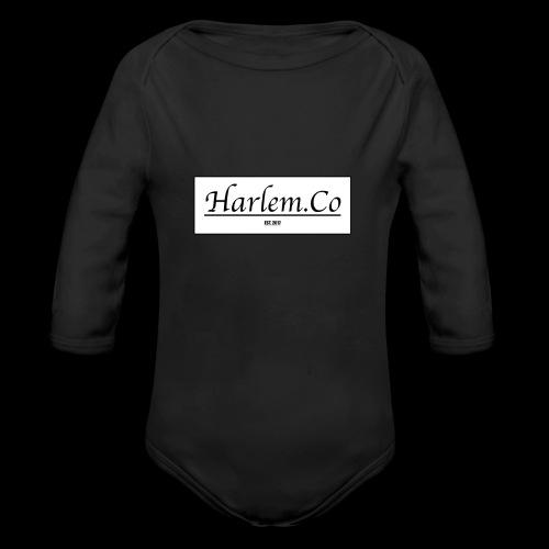 Harlem Co logo White and Black - Organic Longsleeve Baby Bodysuit