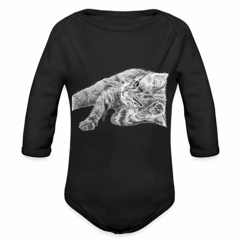 Small kitten in gray pencil - Organic Longsleeve Baby Bodysuit