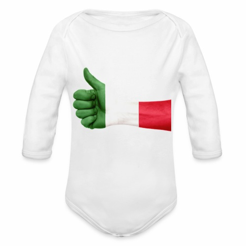 Italienische Flagge auf Daum - Baby Bio-Langarm-Body