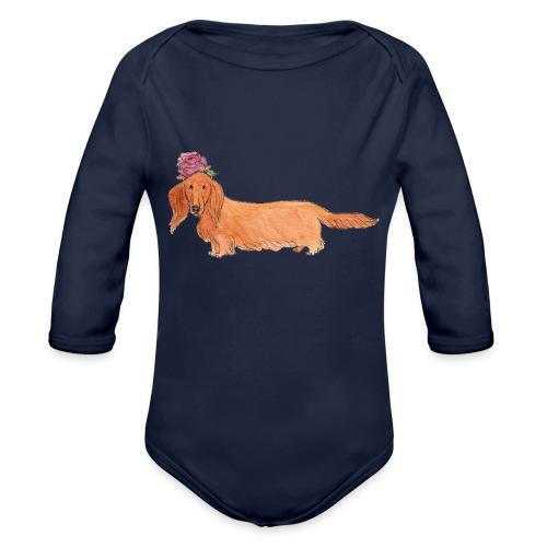 dachshund with flower - Langærmet babybody, økologisk bomuld
