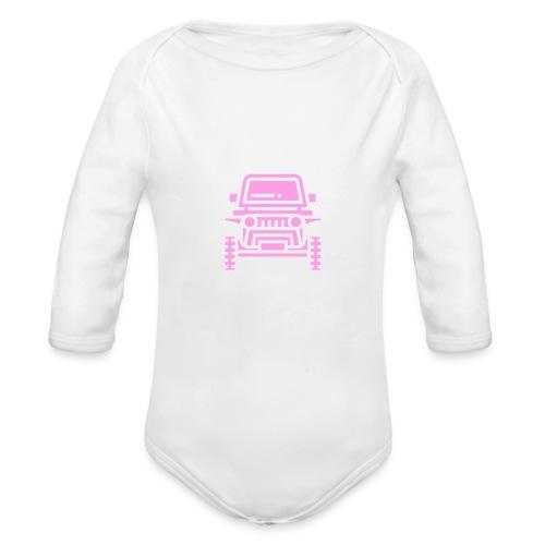 Outdoors pink car jeep - Ekologiczne body niemowlęce z długim rękawem