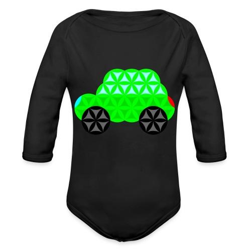 The Car Of Life - M01, Sacred Shapes, Green/R01. - Organic Longsleeve Baby Bodysuit