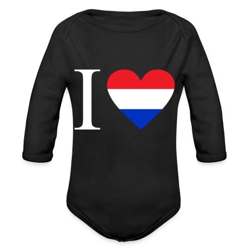 Ik hou van Nederland | Hart met rood wit blauw - Baby bio-rompertje met lange mouwen
