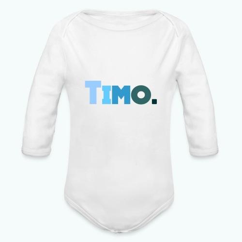 Timo in blauwe tinten - Baby bio-rompertje met lange mouwen