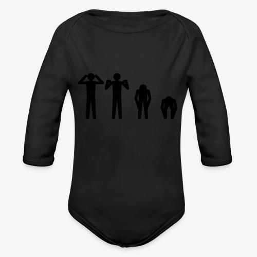 Hode, skulder, kne og tå - Økologisk langermet baby-body