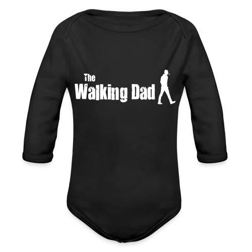 the walking dad white text on black - Organic Longsleeve Baby Bodysuit
