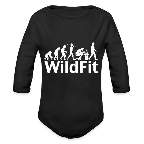 WildFit Logo Evolution Weiß - Baby Bio-Langarm-Body