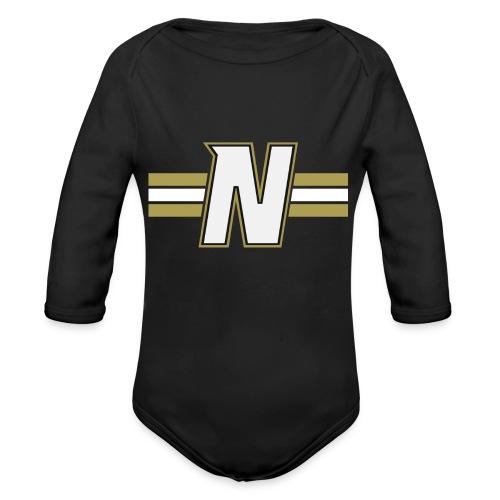White N with stripes - Organic Longsleeve Baby Bodysuit