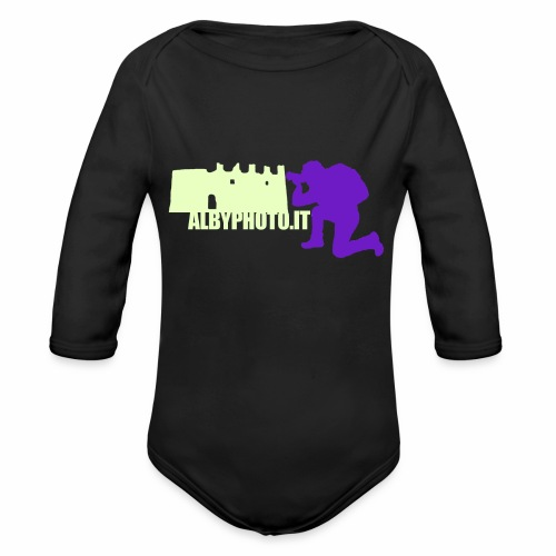 Logo Albyphoto Viola & Giallino - Body ecologico per neonato a manica lunga