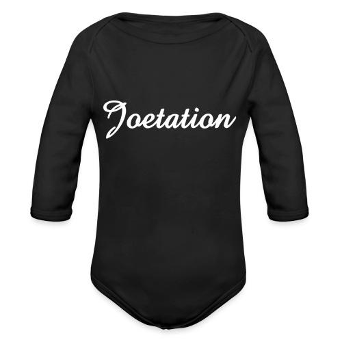 White Text Joetation Signature Brand - Organic Longsleeve Baby Bodysuit