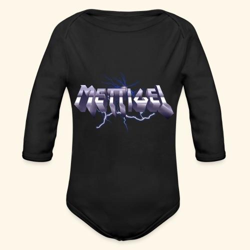 Mettigel T Shirt Design Heavy Metal Schriftzug - Baby Bio-Langarm-Body