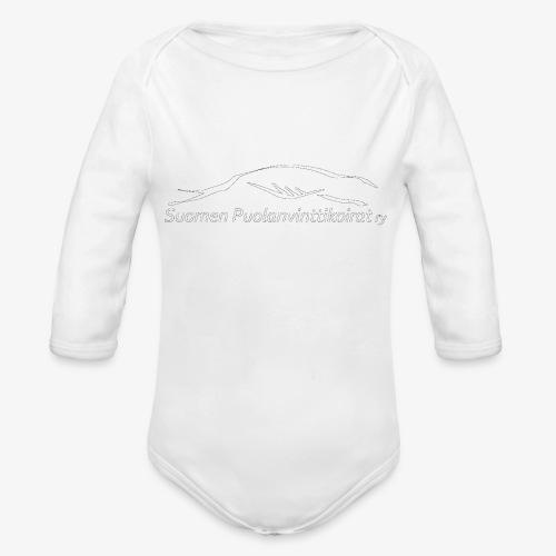 SUP logo valkea - Vauvan pitkähihainen luomu-body