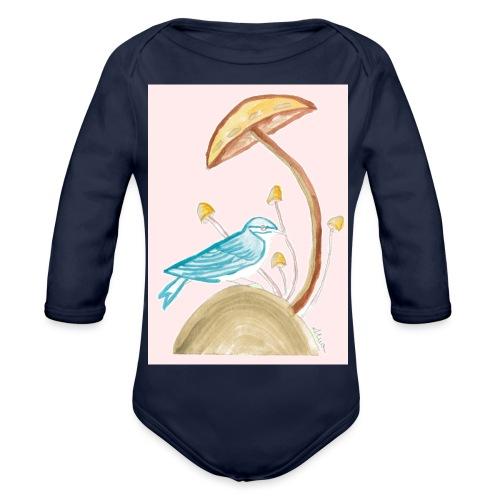 fungo con uccello - Body ecologico per neonato a manica lunga