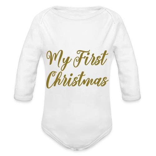 First christmas - Baby bio-rompertje met lange mouwen