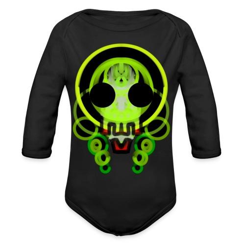 dead skull of loops of green light - Organic Longsleeve Baby Bodysuit