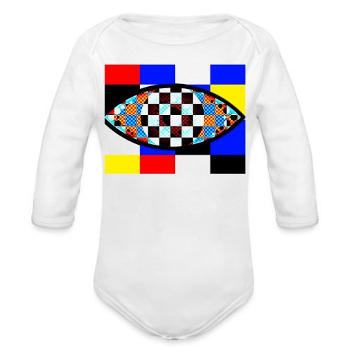 eye with squares in strong colors - Organic Longsleeve Baby Bodysuit