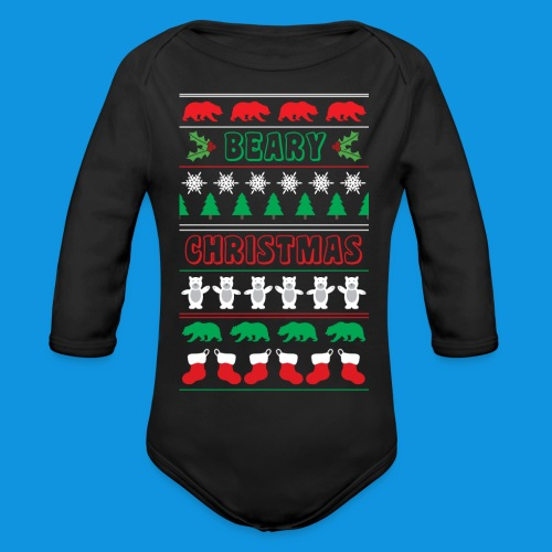 Beary Christmas.png - Organic Longsleeve Baby Bodysuit