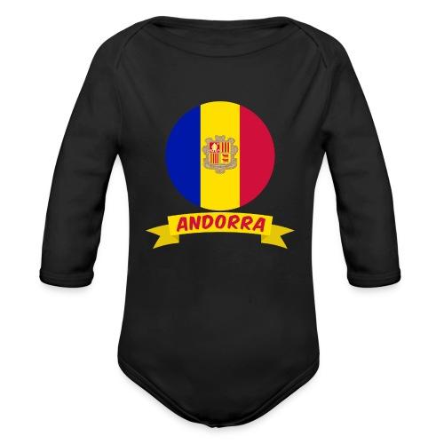 flag of andorra t shirt design banner ribbon - Body ecologico per neonato a manica lunga