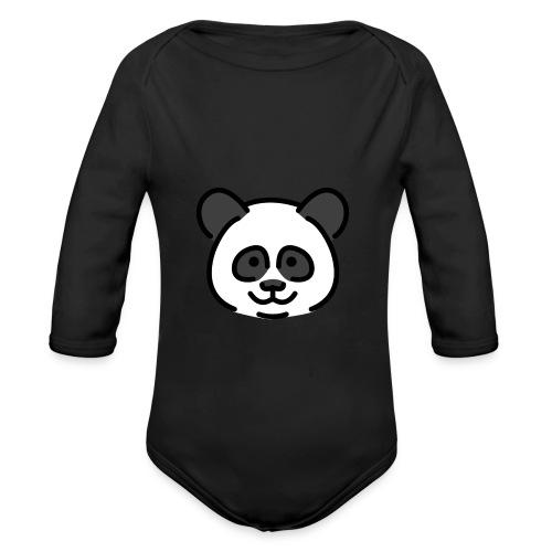 panda head / cabeza de panda - Body orgánico de manga larga para bebé