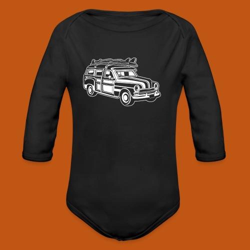 Chevy Cadilac Woodie / Oldtimer Kombi 01_weiß - Baby Bio-Langarm-Body