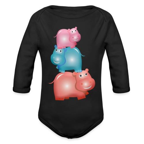 Tierturm aus drei Hippos - Baby Bio-Langarm-Body