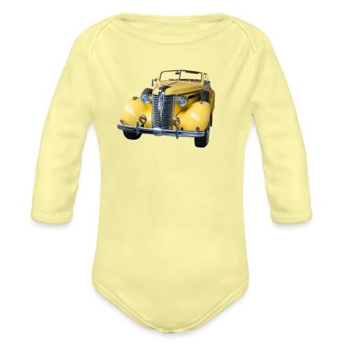 Gele klassieke auto1920 - Baby bio-rompertje met lange mouwen