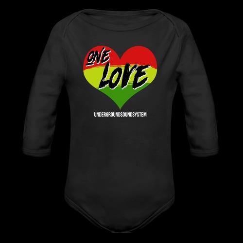 ONE LOVE - HEART - Baby Bio-Langarm-Body