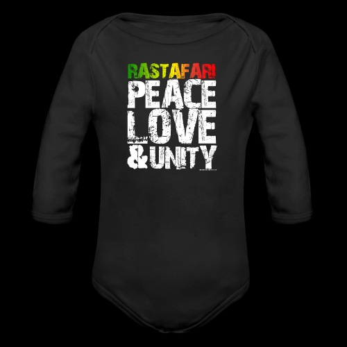 RASTAFARI - PEACE LOVE & UNITY - Baby Bio-Langarm-Body
