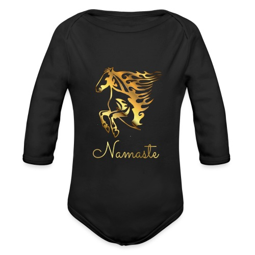 Namaste Horse On Fire - Baby Bio-Langarm-Body
