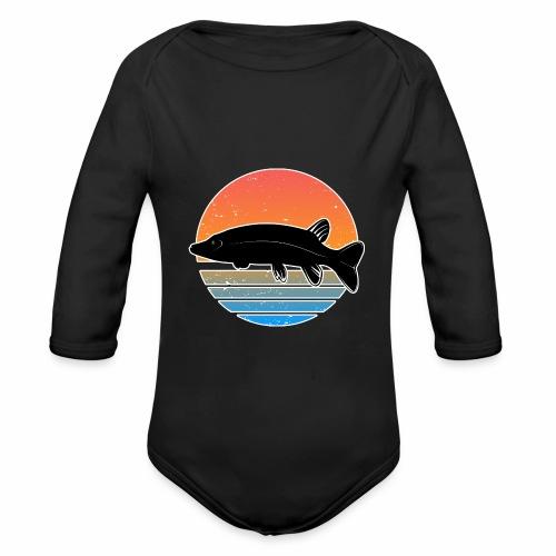 Retro Hecht Angeln Fisch Wurm Raubfisch Shirt - Baby Bio-Langarm-Body