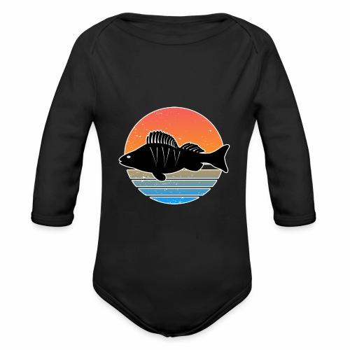 Retro Barsch Angeln Fisch Wurm Raubfisch Shirt - Baby Bio-Langarm-Body