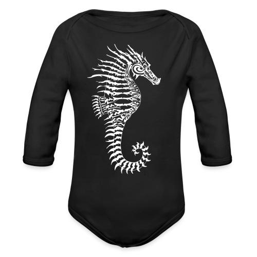 Alien Seahorse Invasion - Organic Longsleeve Baby Bodysuit