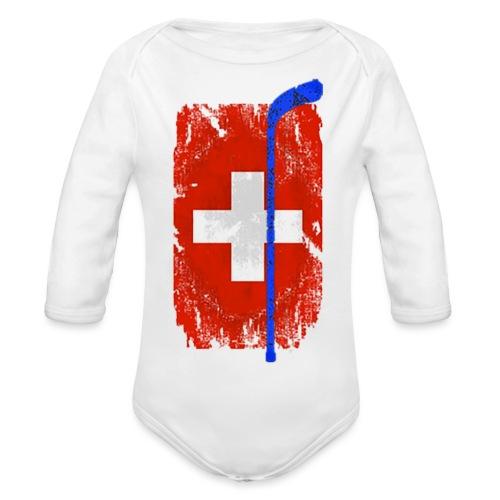 Schweizer Flagge Hockey - Baby Bio-Langarm-Body