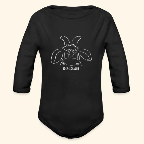 Bock schauen - weiß - Baby Bio-Langarm-Body