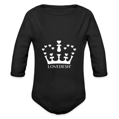 White Lovedesh Crown, Ethical Luxury - With Heart - Organic Longsleeve Baby Bodysuit