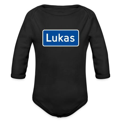 Lukas veiskilt (fra Det norske plagg) - Økologisk langermet baby-body