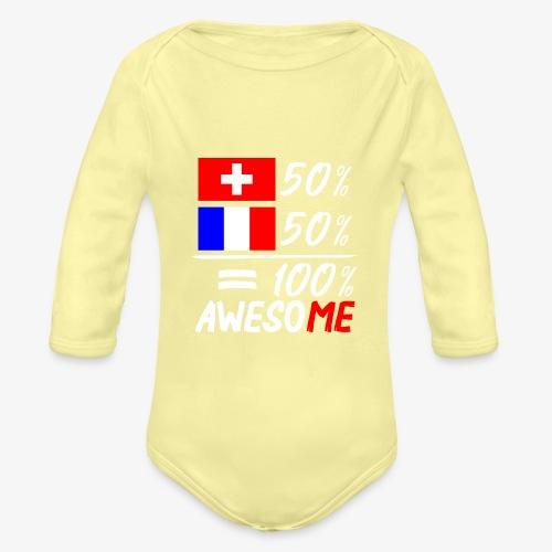 50% Schweiz 50% Frankreich - Baby Bio-Langarm-Body