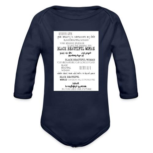 Beautiful Black Woman - Organic Longsleeve Baby Bodysuit