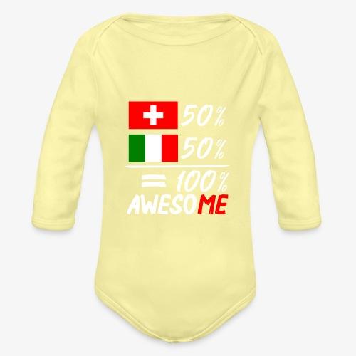 50% Schweiz 50% Italien - Baby Bio-Langarm-Body