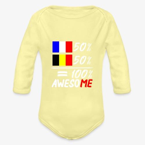 50% Frankreich 50% Belgien - Baby Bio-Langarm-Body
