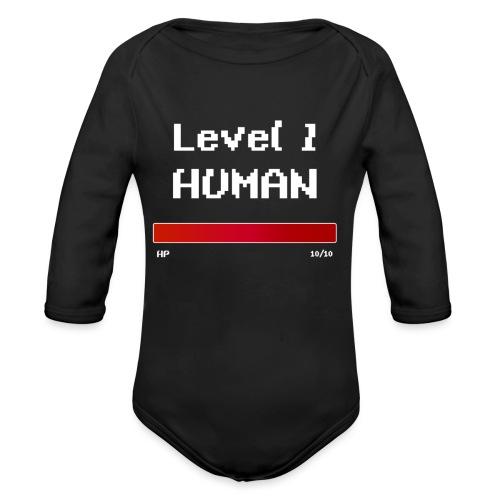 Level 1 Human - Langærmet babybody, økologisk bomuld
