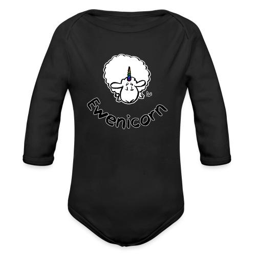 Ewenicorn (schwarze Ausgabe schwarzer Text) - Baby Bio-Langarm-Body