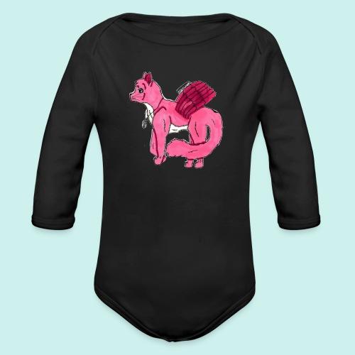pink_cat_ei_taustaa - Vauvan pitkähihainen luomu-body