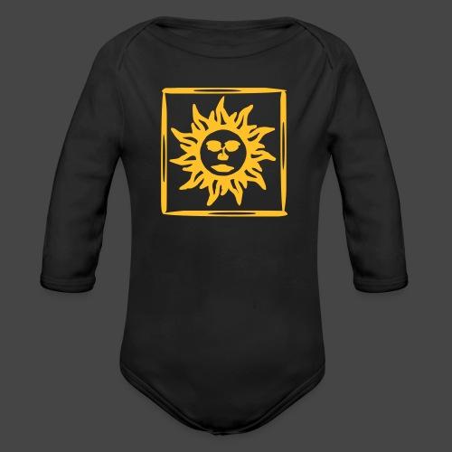 arancione acido sole sole - Body ecologico per neonato a manica lunga