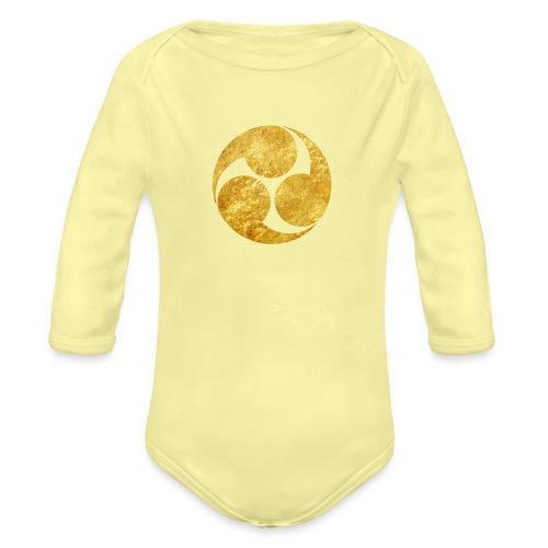 Kobayakawa Mon Japanese clan gold on black - Organic Longsleeve Baby Bodysuit