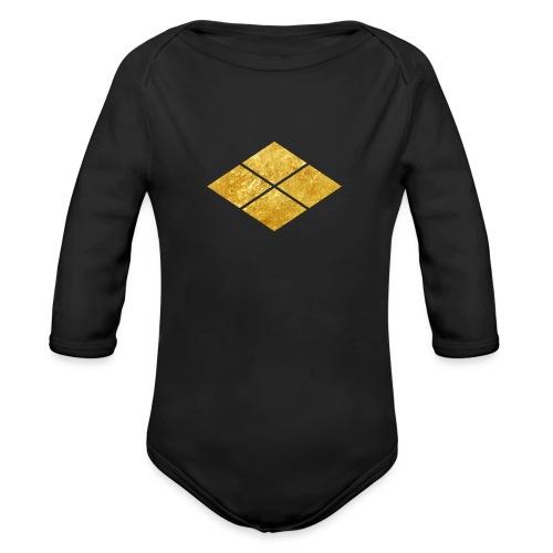 Takeda kamon Japanese samurai clan faux gold - Organic Longsleeve Baby Bodysuit