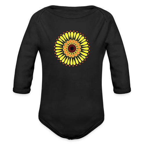 Yellow Sunflower Mandala - Organic Longsleeve Baby Bodysuit